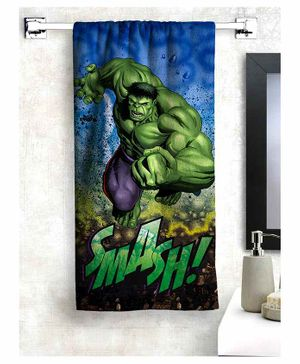 Athom Trendz Marvel Hulk 100% Cotton Kids Bath Towel - Green
