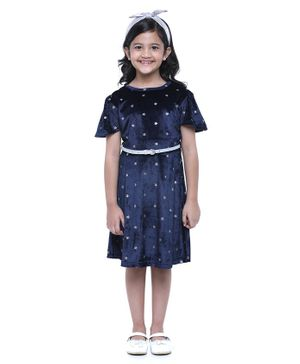 Pine Kids Cap Sleeves Biowashed Frock With Belt Star Print - Navy Blue