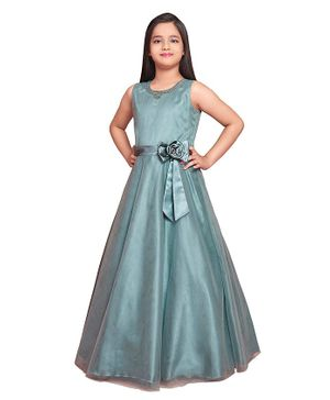 Betty By Tiny Kingdom Sleeveless Solid Flared Gown - Grey