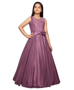 Betty By Tiny Kingdom Sleeveless Solid Flared Gown - Purple