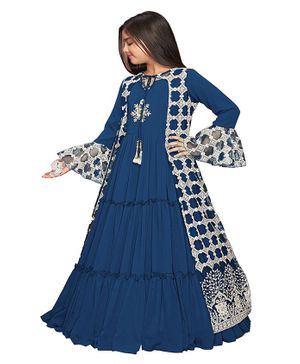 Betty By Tiny Kingdom Embroidery Detailing Tiered Gown With Full Sleeves Jacket - Blue