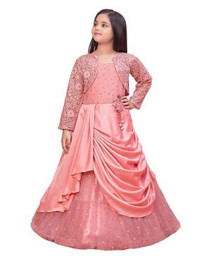 Betty By Tiny Kingdom Sequin Detailing Designer Gown With Flower Embroidered Shrug - Pink