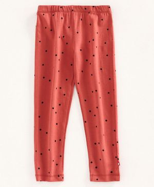 Nino Bambino 100% Organic Cotton Polka Dot Print Leggings - Red