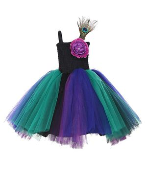 Samsara Couture Flower & Peacock Embellished Sleeveless Dress - Multi Color