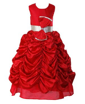Samsara Couture Bow At Waistline Sleeveless Gather Gown - Red