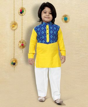 LIL PITAARA Full Sleeves Printed Kurta With Pyjama Set - Yellow