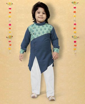 LIL PITAARA Full Sleeves Floral Printed Kurta With Pyjama Set - Blue