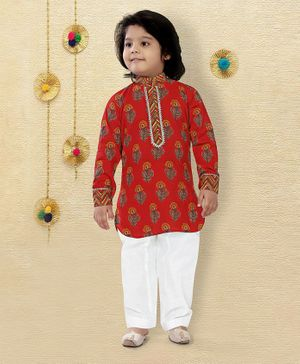 LIL PITAARA Full Sleeves Flower Printed Kurta With Pyjama Set   - Red