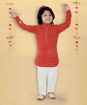 LIL PITAARA Full Sleeves Printed Kurta With Pyjama Set - Red