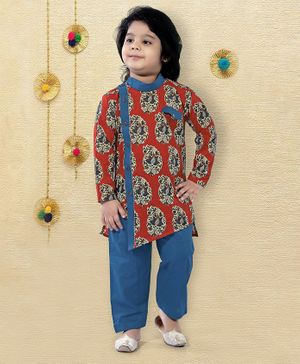 LIL PITAARA Full Sleeves Motif Printed Kurta With Pyjama Set  - Red & Blue