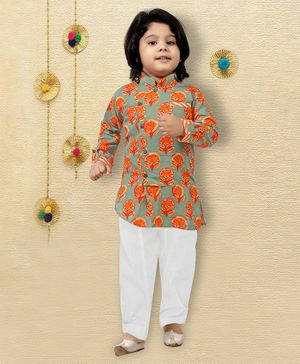 LIL PITAARA Full Sleeves Flower Print Kurta  With Pyjama Set - Green
