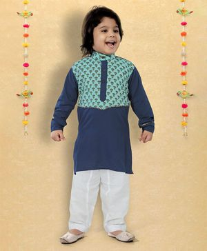 LIL PITAARA Full Sleeves Motif Printed Kurta With Pyjama Set - Blue