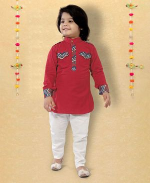 LIL PITAARA Full Sleeves Chevron Printed Kurta- Red
