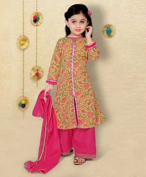 LIL PITAARA Full Sleeves Flower Printed Kurti With Palazzo & Dupatta - Yellow & Pink