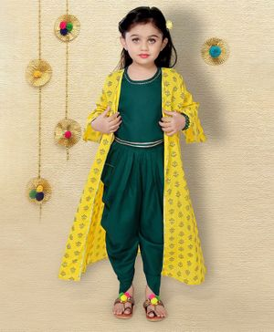 LIL PITAARA Full Sleeves Flower Printed Long Jacket With Crop Top & Dhoti Set   - Yellow & Green