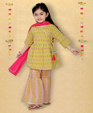 LIL PITAARA Three Fourth Sleeves Ikkat Angarkha Kurta With Printed Sharara & Dupatta Set - Yellow