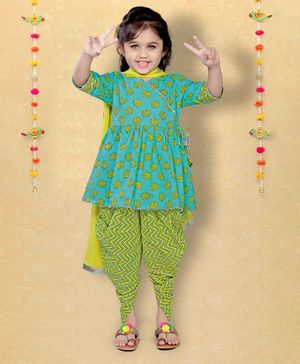 LIL PITAARA Three Fourth Sleeves Motif Printed Angrakha Kurti With Dhoti Set & Dupatta - Blue