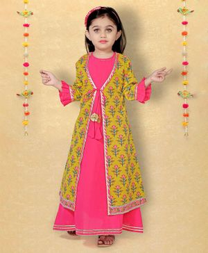 LIL PITAARA Full Sleeves Flower Print Jacket With Long Dress  - Yellow & Pink