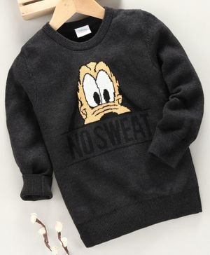 Fox Baby Full Sleeves T-Shirt Donald Duck Embroidery - Dark Grey