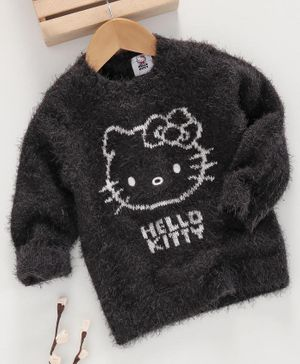 Fox Baby Full Sleeves Winter Wear T-Shirt Kitty Design - Dark Grey