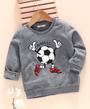 Fox Baby Full Sleeves T-Shirt Football Print - Grey