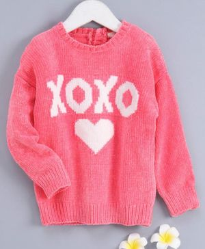 Fox Baby Full Sleeves Winter Wear T-Shirt Heart Print - Pink