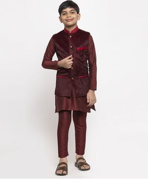 Maxence Full Sleeves Kurta With Square Printed Jacket & Pajama Set - Red