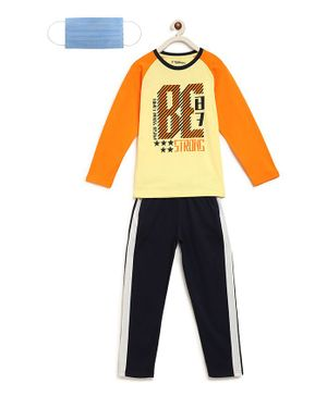 Li'L tomatoes Full Sleeves Text Print Night Suit With 3 Ply Face Mask - Yellow