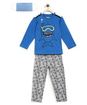 Li'L tomatoes Full Sleeves Shark Print Night Suit With 3 Ply Face Mask - Blue Grey