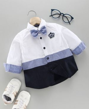 Babyoye Full Sleeves Party Shirt with Bow - White Blue