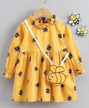 Babyhug Full Sleeves Frock With Hand Bag Honey Bee Print - Yellow