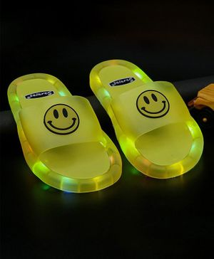FEETWELL SHOES Smiley Patch LED Flip Flops - Yellow
