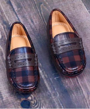 FEETWELL Checked Pattern Loafers - Brown