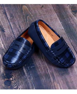 FEETWELL Checked Pattern Loafers - Blue