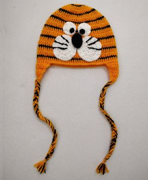 Knit Masters Tiger Design Cap - Orange & Black
