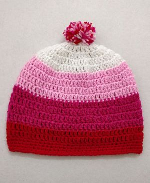 Knit Masters Colour Block Striped Woolen Cap - Pink