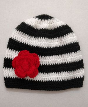 Knit Masters Striped & Flower Design Woolen Cap - Black & White