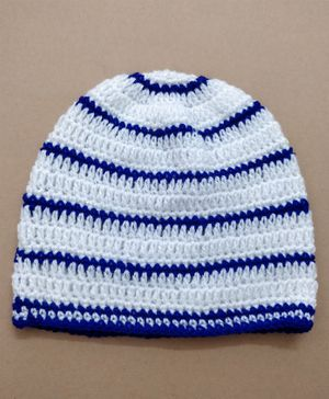 Knit Masters Striped Pattern Cap - White & Blue