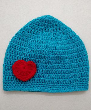 Knit Masters Heart Design Woolen Cap - Blue