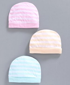 Simply Striped Cotton Cap Pack of 3 - Pink Blue Peach