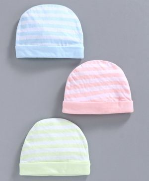 Simply Striped Cotton Cap Pack of 3 - Blue Pink Green