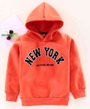 Smarty Full Sleeves Hooded Sweatshirt New York Print - Orange