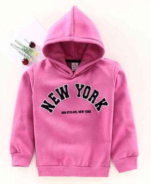 Smarty Full Sleeves Hooded Sweatshirt New York Print - Pink