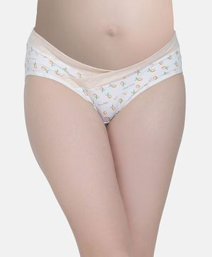 MAMMA PRESTO Orange Print High Waist Maternity Panty - Beige