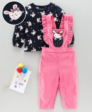 Babyoye Cotton Dungaree Style Romper With Full Sleeves Tee Kitty Print - Pink Navy
