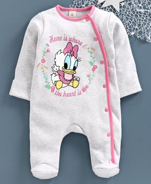 Baby Naturelle & Me Full Sleeves Winter Wear Footed Romper Daisy Duck Print - Grey