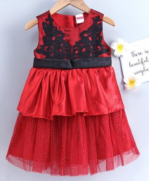 Babyhug Sleeveless Layered Frock with Embroidered Bodice - Red