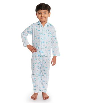 Fuzzy Bear Full Sleeves Dog Print Night Suit - Blue