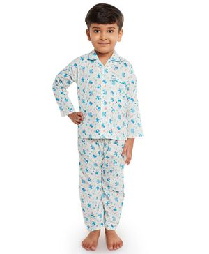 Fuzzy Bear Cars Printed Full Sleeves Night Suit - Off White & Blue