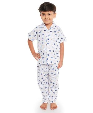 Fuzzy Bear Half Sleeves Printed Night Suit - White & Blue